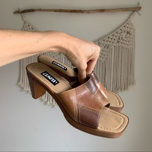 Vintage Leather block heel slide sandals mules